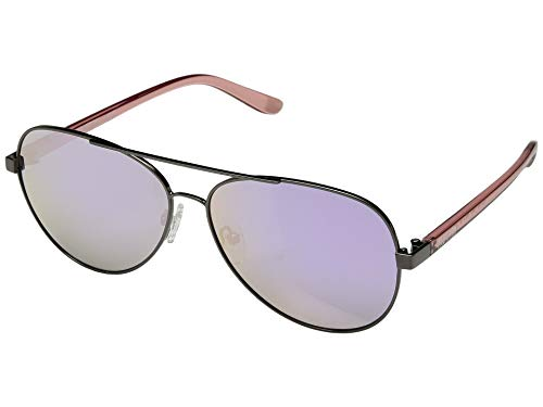 Reaction Kenneth Cole Oversized Cutout Aviator Sunglasses in Gunmetal/Rose