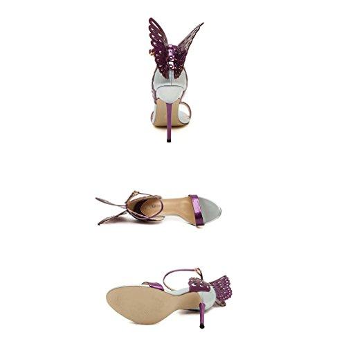 SHEO sandales à talons hauts Mme Europe et les États-Unis creusent bien avec des talons hauts ( Couleur : Abricot , taille : 40 ) Violet