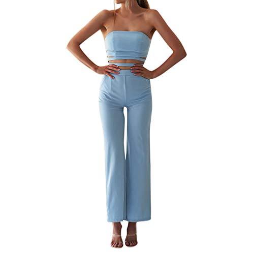 Body Wrap Lange Bein Shaper (Zegeey Damen Einfarbig Jumpsuit Overall Wrap Hosen Weites Bein Gerades Bein Slim Fit Vintage Elegant Rueckenfrei Schulterfrei (Blau,EU-40/CN-XL))
