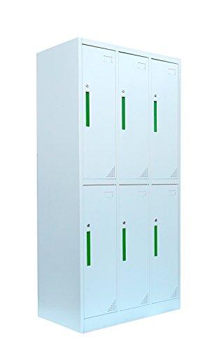 Stahl-Kleiderschrank Garderobenschrank Fächerschrank, 6 Fächer Spind grau 567230