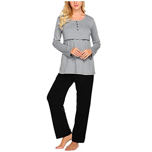Sumtter pigiami e camicie da notte premaman elegante pigiama allattamento manica lunga vestaglia premaman ospedale+pantaloni regolabile set 2pcs