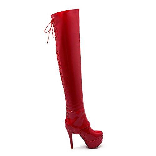 ... AllhqFashion Damen Blend-Materialien Hoher Absatz Schließen Zehe Hoch-Spitze  Stiefel Rot-Überschneidend ...
