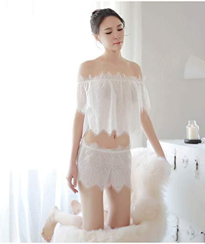 Wnlyb Frauen Sexy Dessous Die Schulter Valentine Off Lace Cutout Mesh-Rock Transparent Rückenfreies Nachtkleid Set Nachtwäsche,Weiß,M -