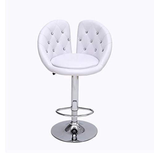 Gj moda europea per il tempo libero bar sedia singola girevole sedia ascensore bar sedia in pelle seggiolone bar sgabello parrucchiere sedia girevole rotonda speciale (colore : bianca)