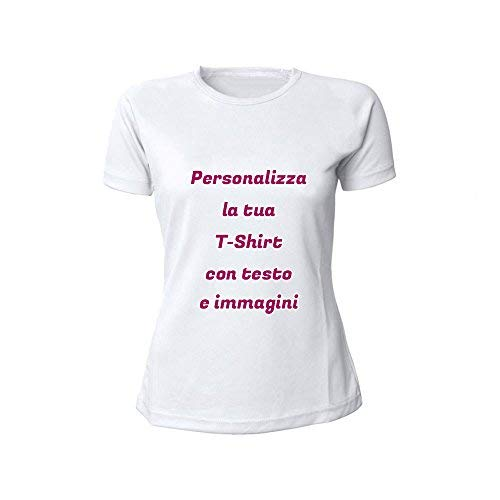 T-shirt donna bianca personalizzata con testo, foto e immagini, m