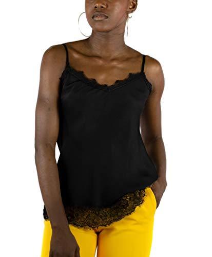 Mer's Style - Top Lencero Encaje Tirantes Mujer, Negro