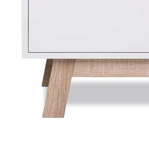 Kommode in Sonoma Eiche-Nachbildung und weiß, 2 Türen, 1 breiter Einlegeboden, Maße: B/H/T ca. 100/85/40 cm - 3