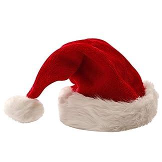 WARMWORD Gorro navideño de Santa Grosor Corto de Felpa Gorro de Navidad Grosor Alargado de Gorro de Navidad de Papá Noel para Adultos Adornos Navideña Roja Novedad