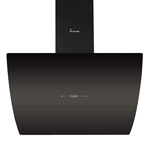 Campana extractora de pared (90 cm, acero inoxidable, cristal negro, extra silenciosa,...