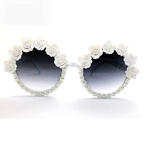 LKVNHP Hohe Qualität Frauen Retro Sommer Weiß Rahmen Retro Strand Femal Punk Sungalsses Rose Blume Mit Perle Barock Frauen Sungalsses