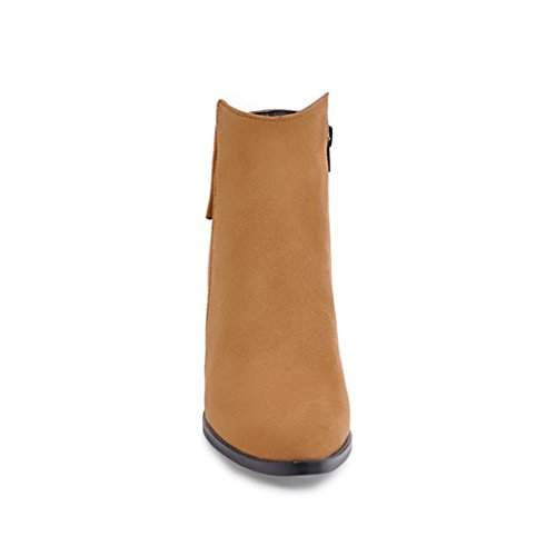 ZQ@QX Suggerimento della settimana per spessore e con scarpe con i tacchi alti, Wild Side zipper Stivali Stivali femmina yellow