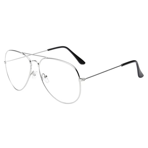 Damen Herren Klassisch Sonnenbrille,Ronamick Clear Lens Gläser Metall Spektakel Rahmen Brillen Mädchen (Silber)