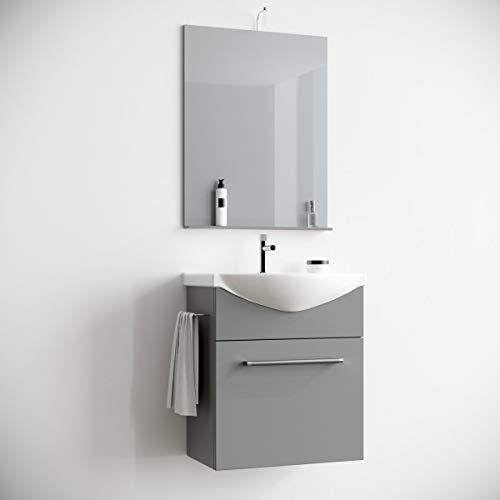 MarinelliGroup Mobile Bagno salvaspazio sospeso 60 cm Tortora con lavabo in Ceramica Specchio e Luce. Papavero