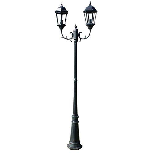 vidaXL Lampe d'extérieur/Lampadaire rétro noir fonte (2 têtes) 230 cm