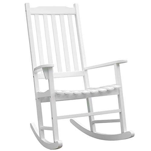 Outsunny Schaukelstuhl Gartenmöbel Relaxstuhl Schwingsessel Terasse Balkon Akazienholz ergonomisch weiß 71,5 x 84,5 x 113 cm