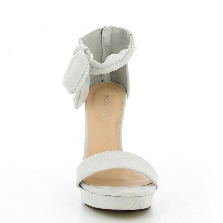 Ideal Shoes - Sandales à talon effet daim Gemma Gris