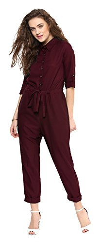 Uptownie Lite Women's Crepe Maroon Roll up Jumpsuit(Size M)