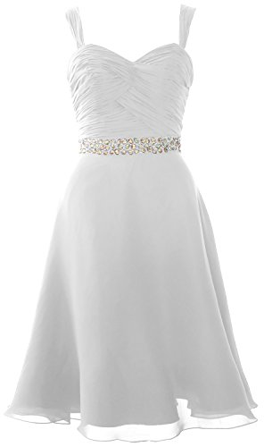 MACloth Elegant Straps Chiffon Cocktail Dress Short Wedding Party Formal Gown white