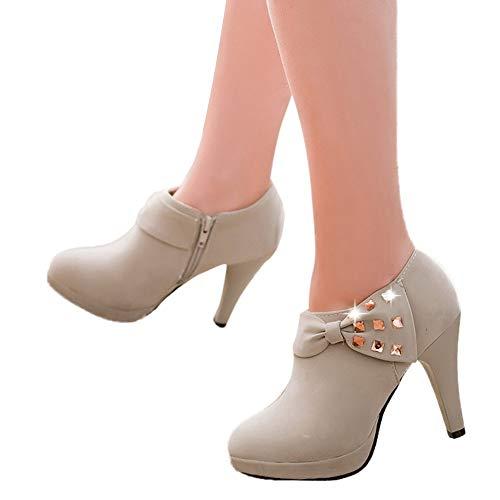 TianWlio Stiefel Frauen Herbst Winter Schuhe Stiefeletten Boots Stiefel Stil Retro Plus Samt Kurze Stiefel Motorradstiefel Student Boot Grau 36