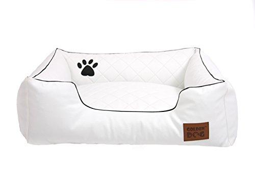 Hundebett Hundesofa Hundekissen abnehmbarer Bezug, pflegeleicht, abwaschbar Steppy Weiß 90x70cm