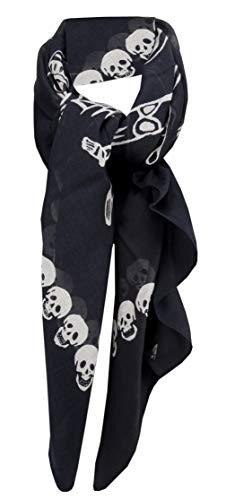 Halstuch in schwarz weiß - Motiv mit Totenkopf und Skelett - Gr. 100 x 100 cm