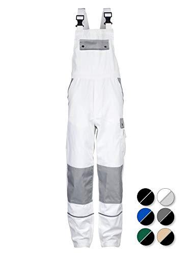 TMG® Komfortable Herren Latzhose   Männer Arbeitslatzhose mit Reflektoren und Taschen für Kniepolster   Maler, Anstreicher, Tapezierer   Weiß 52