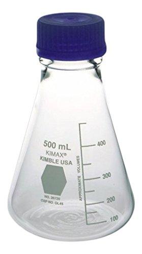 Kimble Chase KIMAX 606000-1124 Borosilicate Glass Three Vertical Neck Round Bottom Distilling Flask 500 ml Capacity 9606000009 Standard Taper Joints