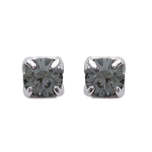 Silber Ohrringe Damen, Herren und Kinder-Silber 925/1000 Kristall Grau