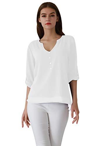 OMZIN Damen Chiffon Tops Langarm Shirt Causal Loose Oberteil V Ausschnitt Henley Shirt Weiß XS