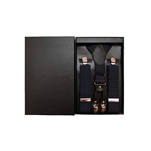 Ariesen & Baer Hosenträger (blau-gepunktet) Herren hochwertig mit extra starken Clips 3,5cm Hosentraeger, Anzug, Hochzeit, Weihnachten/in hochwertiger Geschenkbox…