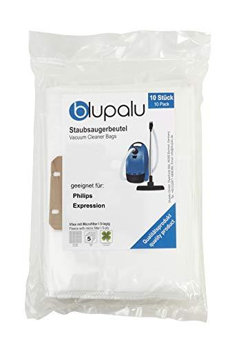 blupalu I Staubsaugerbeutel für Staubsauger Philips Expression I 10 Stück I mit Feinstaubfilter