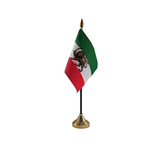 6Stück Old Iran iranischen Persien Persischen Desktop Tisch Mittelpunkt Flagge Flaggen mit Gold Grundlagen ideal für Party Konferenzen Büro Display -