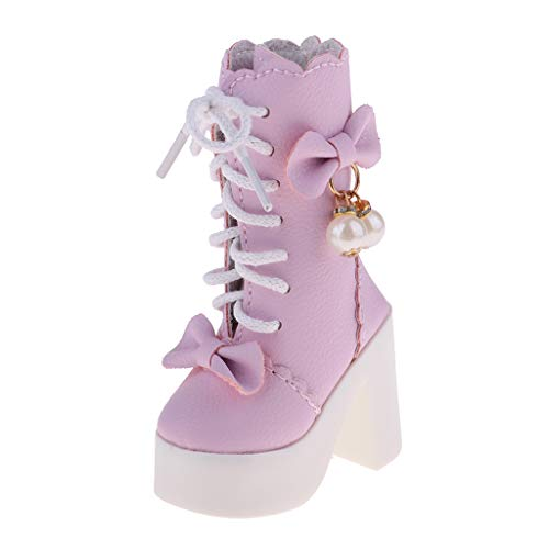 KESOTO 1/3 Bjd Fashion Zapatos de Tacón Alto con Cordones para Noche Lolita Muñecas - Rosado