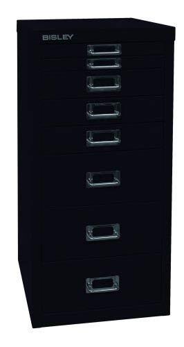 Bisley MultiDrawer, 29er Serie, DIN A4, 8 Schubladen, Metall, 633 Schwarz, 38 x 27.9 x 59 cm -