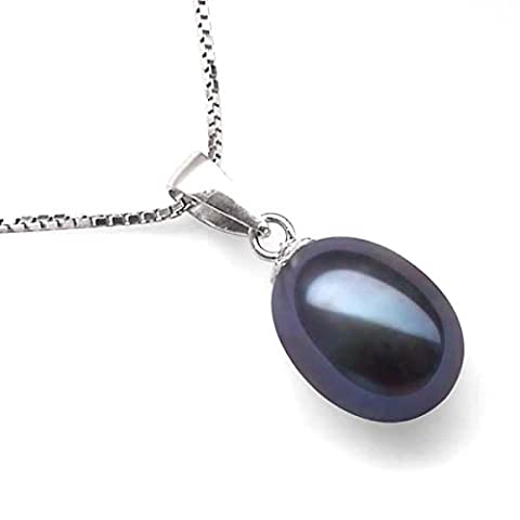 Pearl Pendant Necklace 7mm Oval Black Cultured Freshwater Pearls - Sterling Silver Chain - Gift Boxed (Black)