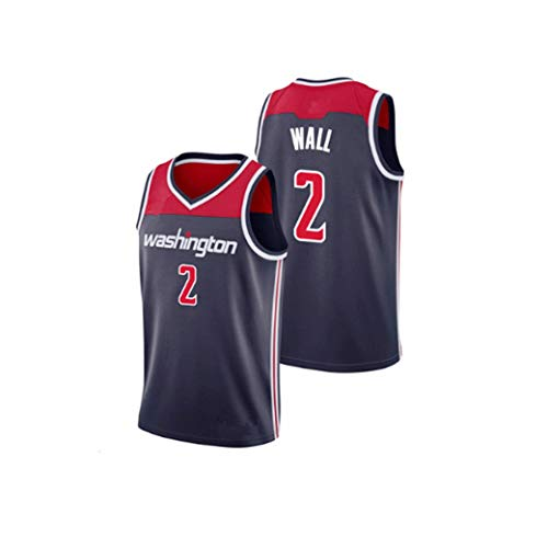 John Wall # 2 Washington Wizards Männer Basketball-Trikots New Stoff gestickter Unisex Ärmel T-Shirt Basketball-Trikot NBA Swingman Anzug (Color : Schwarz, Size : XS)