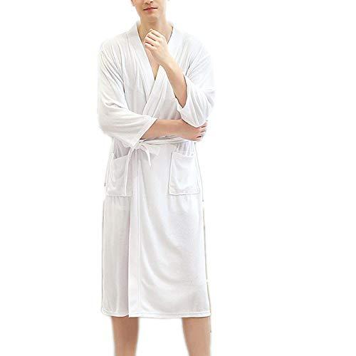 MHSHXY Nachtwäsche Bademäntel Handtuch Robe Waffle Woven Cotton Bademantel Kleid Kimono Kleid Super Soft Sauna Unisex White-M
