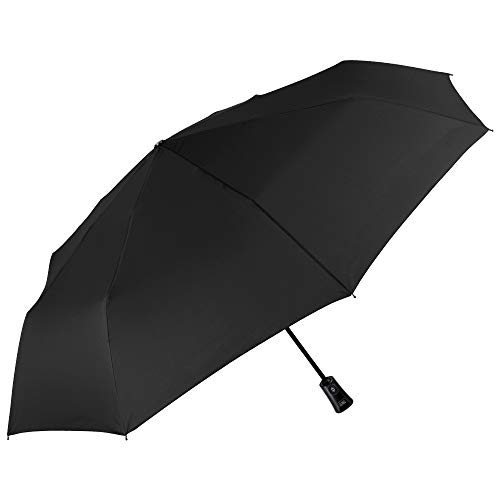 Ombrello pieghevole uomo antivento - portatile grande e compatto - tinta unita leggero in fibra di vetro - apri e chiudi automatico - pfc free - diametro 104 cm - perletti technology (nero)