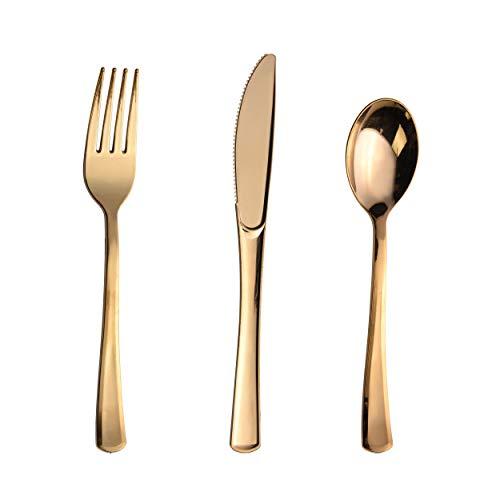 Plastikbesteck/Besteck-Set, Kunststoff, goldfarben, 300 Stück