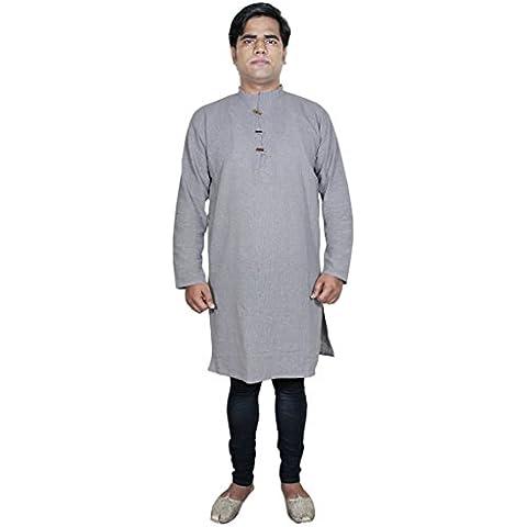 uomini tunica camicia indiana - puro cotone pianura grigia yoga kurta-size s
