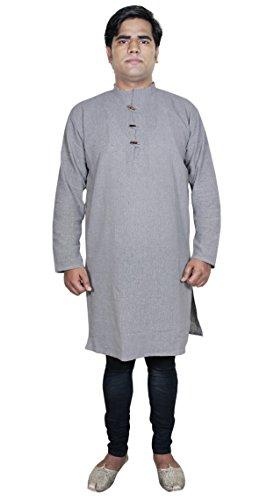 Baumwolle Khadi Herren Indische Tunika Shirt Baumwolle Einfarbig Grau Yoga (Für Kostüm Zumba Männer)