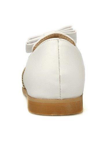ShangYi gyht Scarpe Donna-Mocassini-Tempo libero / Casual-Comoda / Punta arrotondata-Piatto-Finta pelle-Nero / Bianco White