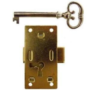 Eine Tür Curio (l-3b Medium Flush Mount Schrank Tür Lock & Skelett Schlüssel, Messing vergoldet Stahl)