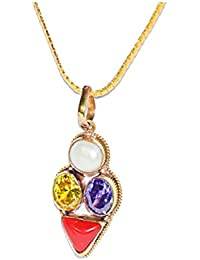Pisces Zodiac Rudra Divine Self Certified Multicolor 100% Original Semi Precious Gemstone Prosperity Pendant For...