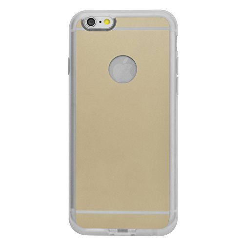 iProtect Qi-kompatible induktive TPU Schutzhülle Apple iPhone 6 Wireless Charging Hard Case in gold und transparent gold Hülle+Ladestation