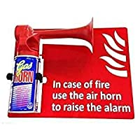 FSSS Ltd IN CASE OF FIRE USE THE AIR HORN SIGN & AIR HORN & BRACKET FIRE SAFETY SCHOOL BUILDING SITE LANDLORD SECURITY