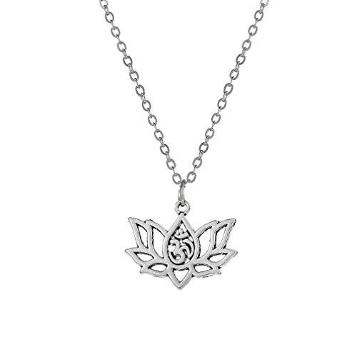 Yeucan Kreative Hollowed Lotus Halsketten-Anhänger Weinlese-einfache Halsketten Schmuck für Frauen (Lotus Blossom Schmuck)
