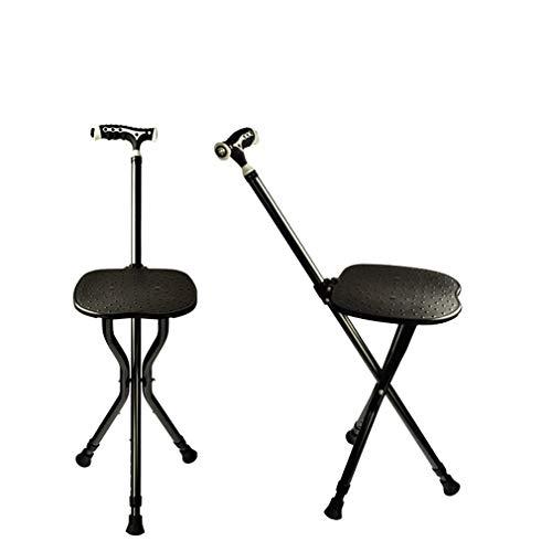 YTDDD Gehstock Stuhl, ältere dreibeinige Hocker Krücke, LED-Griff, Metall tragbare Klapp Gehstock Stuhl, Angeln Garten Camping Aktivität Hocker -