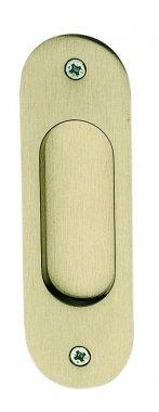Poignée encastrable sans trou pour porte intérieure coulissante ou de meuble et placard en laiton nickel mat entraxe 100 mm, CUVETTE Ovale