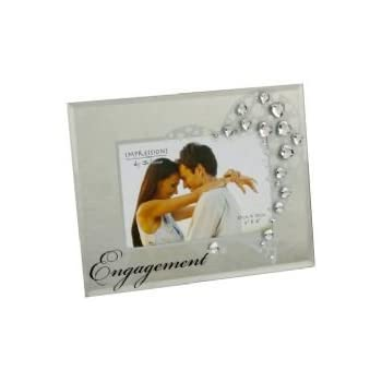 engagement mirrored glass photo frame diamantes surround - Engagement Frame